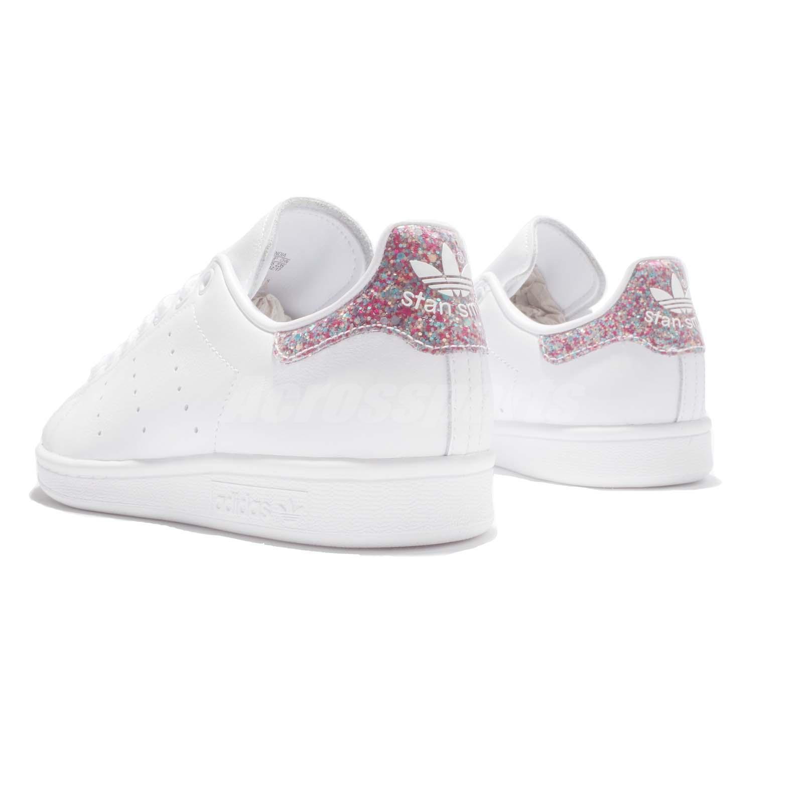 Adidas Stan Smith bianca stelle in glitter mod Cometa lilla